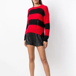 Zadig & Voltaire Gaby Striped Distressed Mohair Sweater in Red/Black